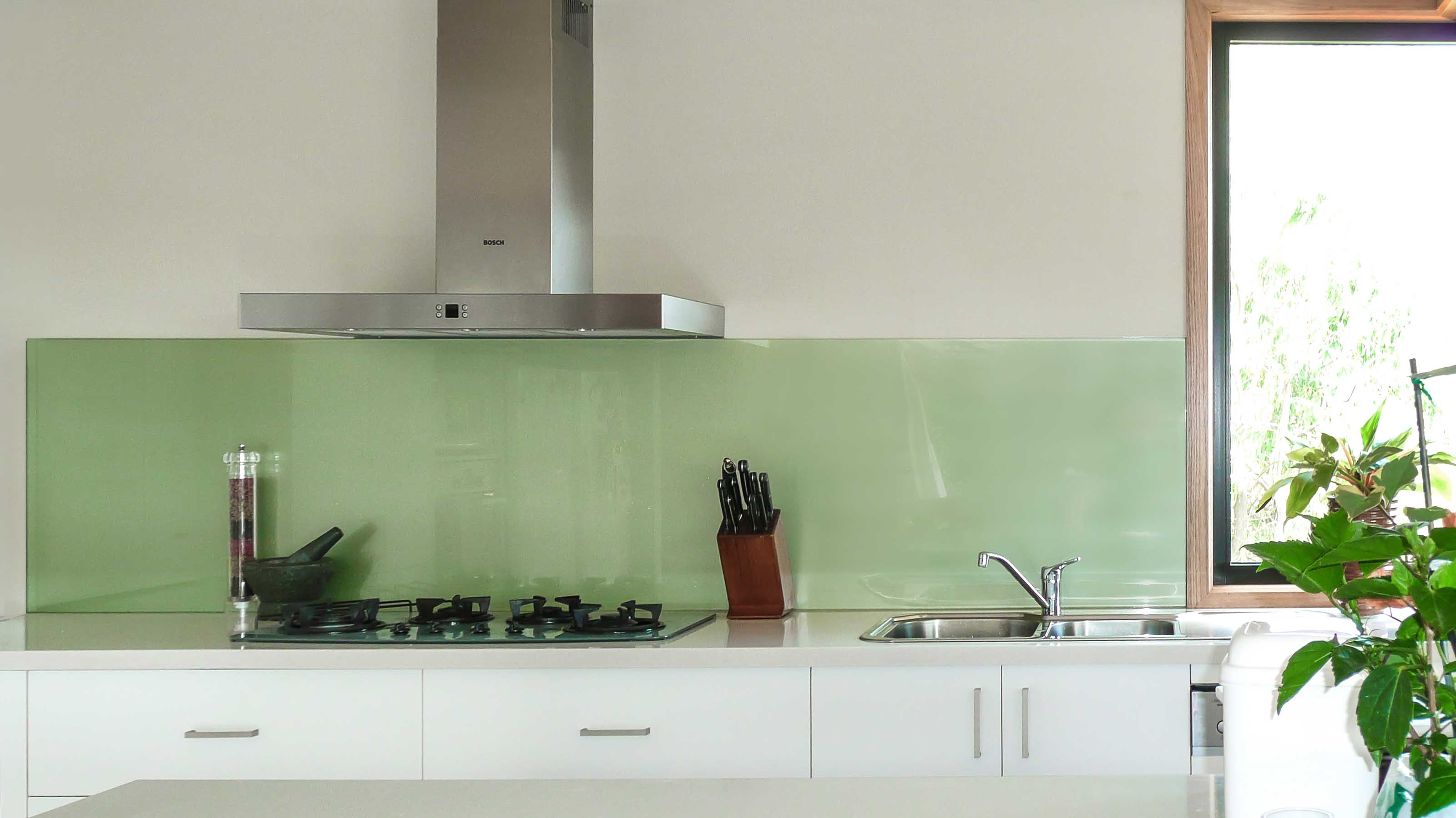 Glass splashbacks for bathroom sinks - Kolor Green Metallic Kitchen Glass Splashbacks Stone Benchtop Lorne Supplied