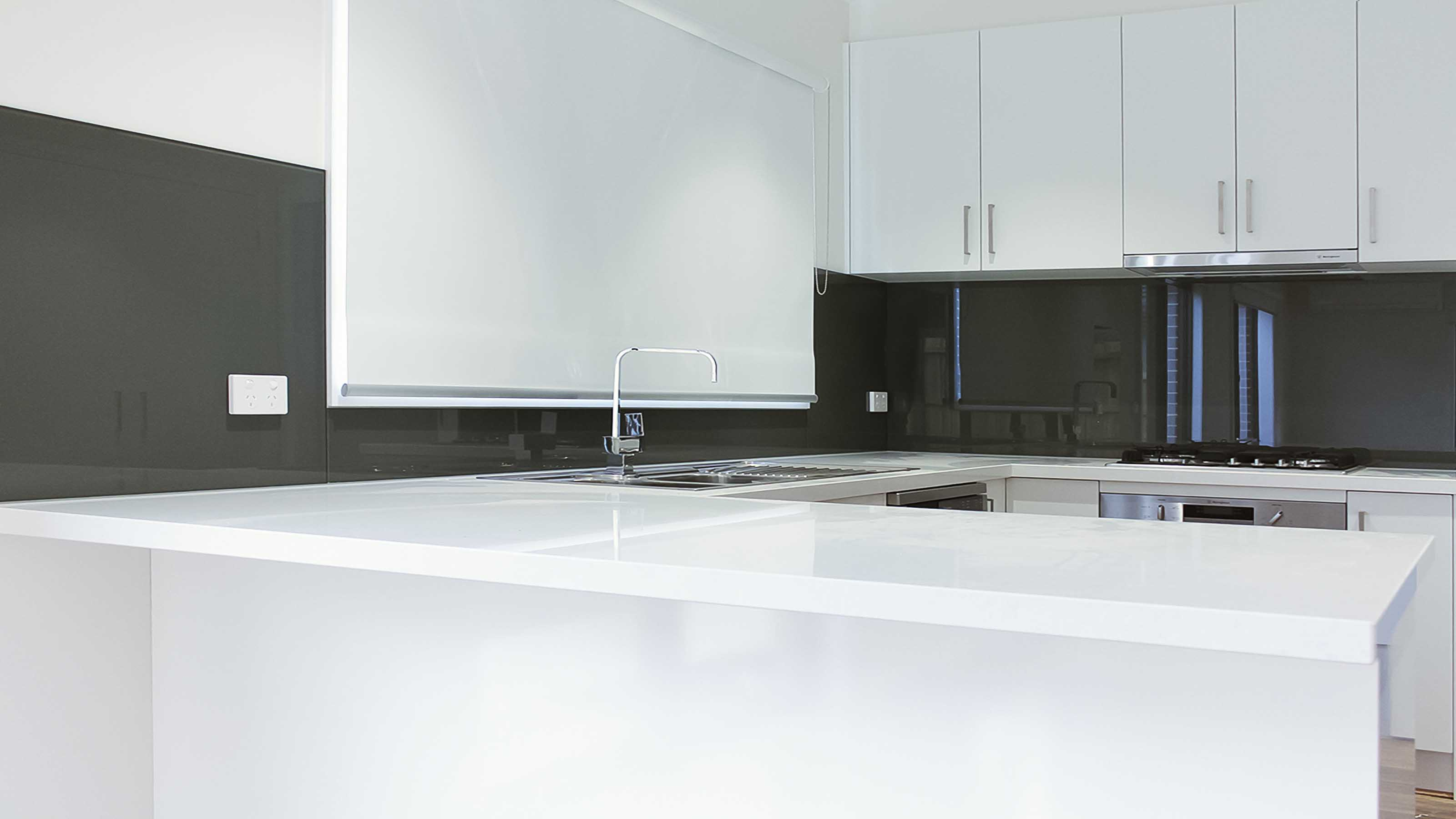 Glass splashbacks for bathroom sinks - Kolor Grey Colour Kitchen Glass Splashbacks White Stone Bench Top Ocean Grove